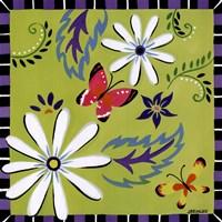 Daisies And Butterflies-Green Framed Print