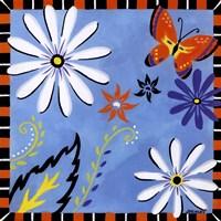 Daisies And Butterflies-Blue Framed Print