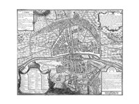 Plan de Paris - black and white map Framed Print