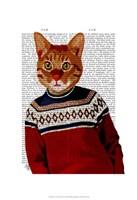 Cat in Ski Sweater Framed Print